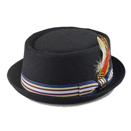 Wool Fedora Hat w/ Feather Stripe Band Classic Round Pork Pie Stingy Brim Special Blend Big Stripe Hat
