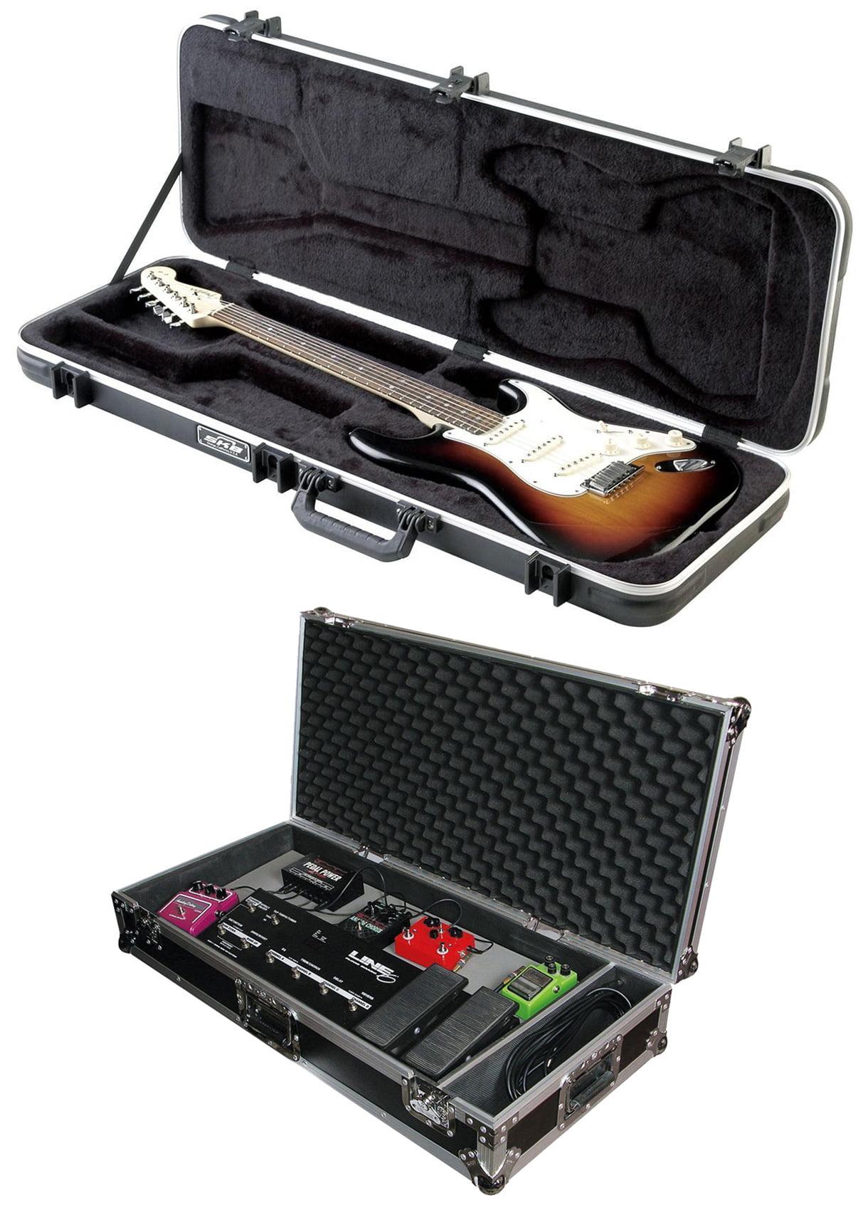 "SKB 1SKB-66 Electric Hard-Shell Guitar Rectangular Case + 32"" Flight Pedal Case by SKB"