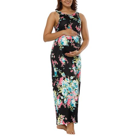 Pregnant Women Floral Print Long Maxi Dress Sleeveless Maternity Gown Photography Photo Props Vest