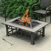 Axxonn Rectangular Tile Top Fire Pit, Brownish Bronze