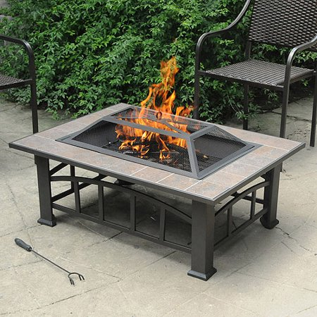 Axxonn Rectangular Tile Top Fire Pit, Brownish