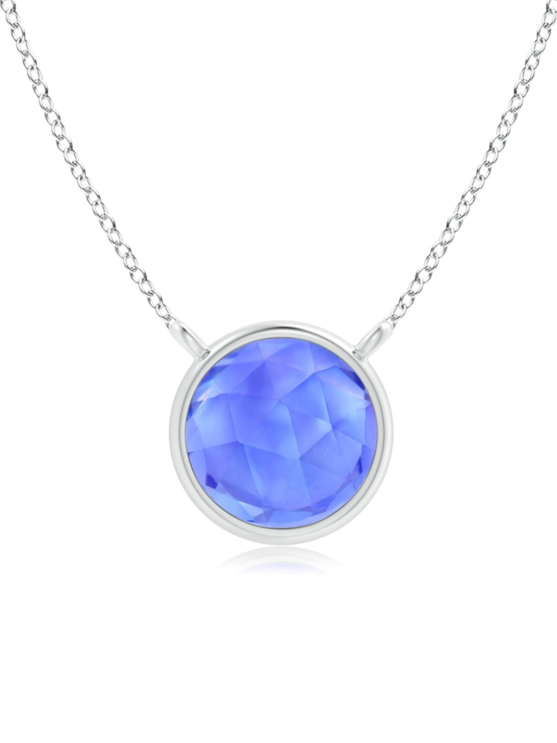 December Birthstone Pendant Necklaces Bezel Set Round Tanzanite Solitaire Necklace in 14K Rose Gold (5mm Tanzanite)... by Angara.com