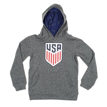 MLS U.S. Soccer Big Boys Youth Fleece Pullover Hoodie, Grey