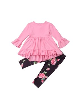 Toddler Kid Baby Girl Ruffle Clothes Tops Shirt+Floral Pants 2Pcs Outfits Set