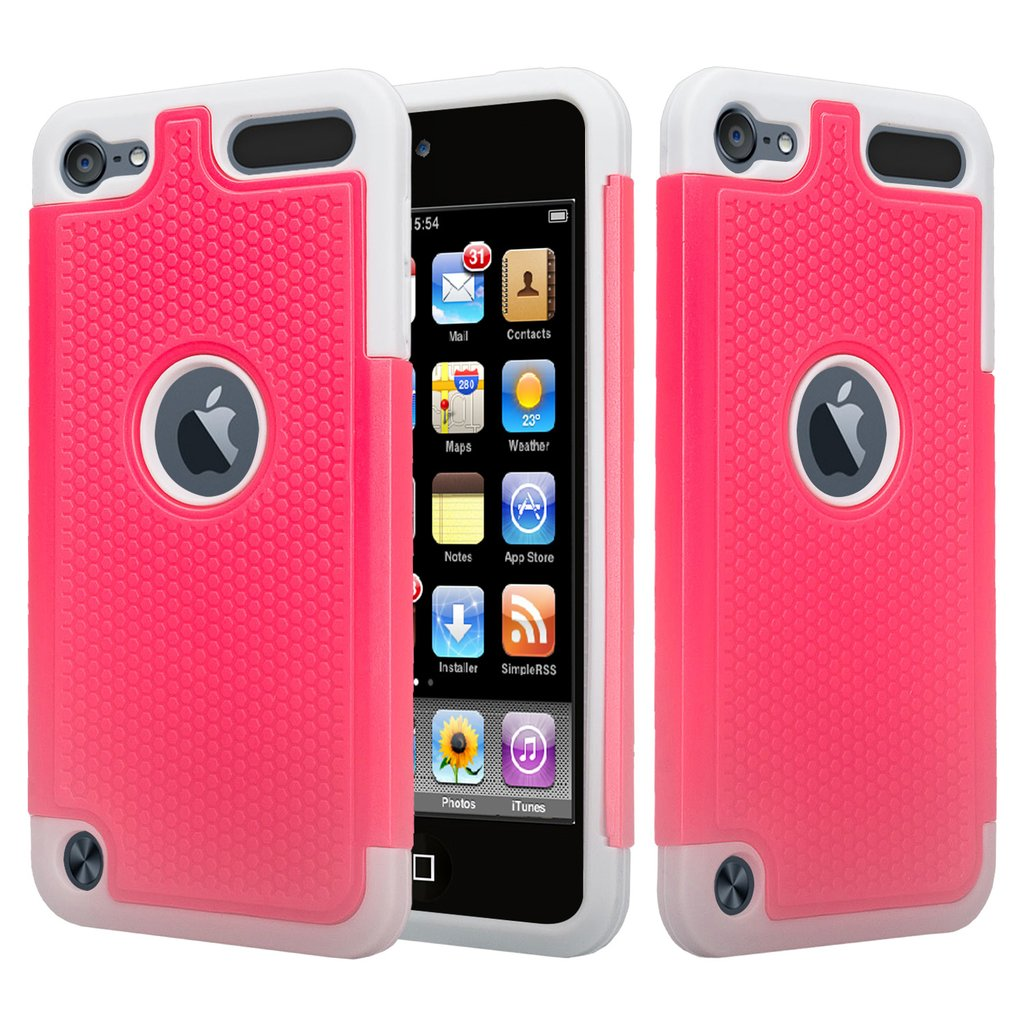 iPod Touch 5 Case,iPod Touch 6 Case,Heavy Duty High Impact Armor Case Cover Protective Case for Apple iPod touch 5 6th Generation Hot Pink