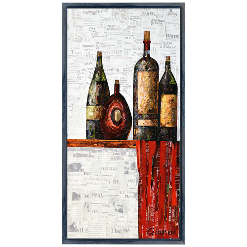 Empire Art Direct ''Vintage Wine A'' Paper Collage Signed by Gianni Framed Graphic Art