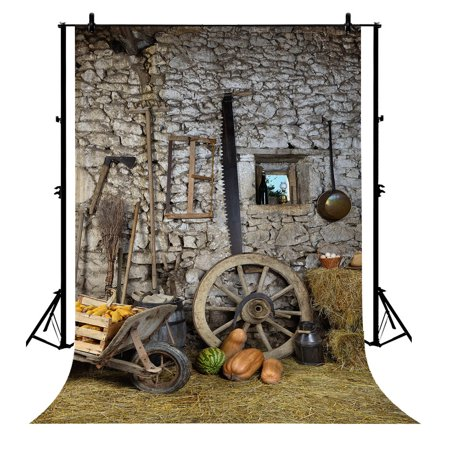 GCKG 7x5ft Farmhouse Life Scene Vitage Stone Wall Labor Tools for Thanksgiving Polyester Photography Backdrop Photography Props Studio Photo Booth Props - image 4 of 4