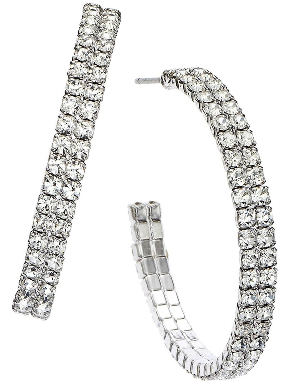 X & O Handset Austrian Crystal Rhodium-Plated Double-Row 35mm Hoop Earrings