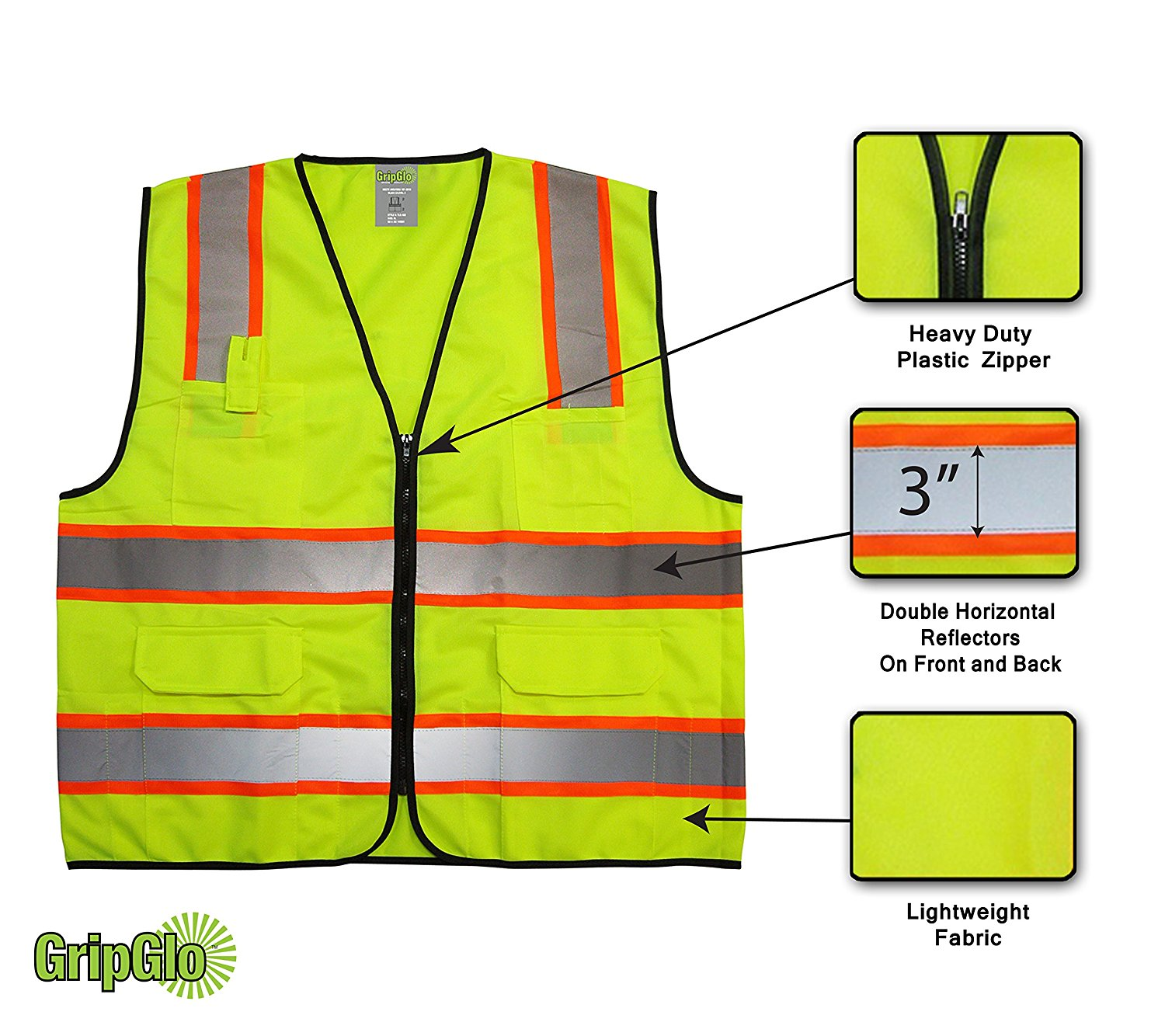 Large Multi-Pocket Neon Safety Vest with Reflective Strips Jacket Zipper ANSI