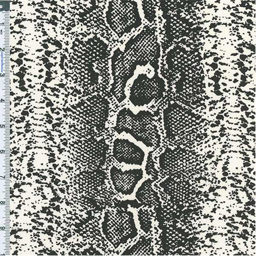 Black/White Reptile Skin Twill, Fabric Sold By the Yard