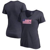 FC Dallas Fanatics Branded Women's Patriotic Wordmark V-Neck T-Shirt - Navy