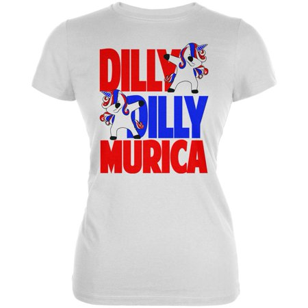 b96e55104 Animal World - 4th of July Dilly Dilly Murica Dabbing Unicorn Juniors Soft  T Shirt - Walmart.com