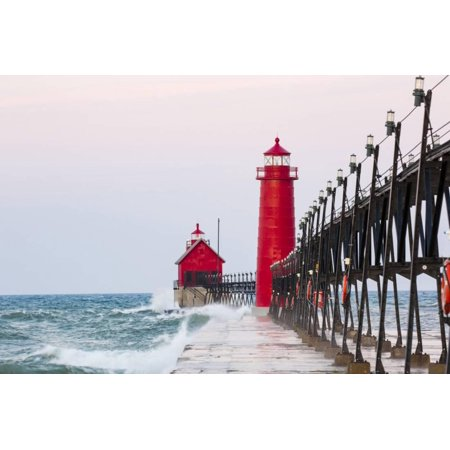 Grand Haven South Pier Lighthouse at Sunrise on Lake Michigan, Ottawa County, Grand Haven, Michigan Print Wall Art By Richard and Susan Day