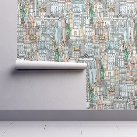 Removable Water-Activated Wallpaper New York City New York Watercolor Taxi - Windy City Wallpaper