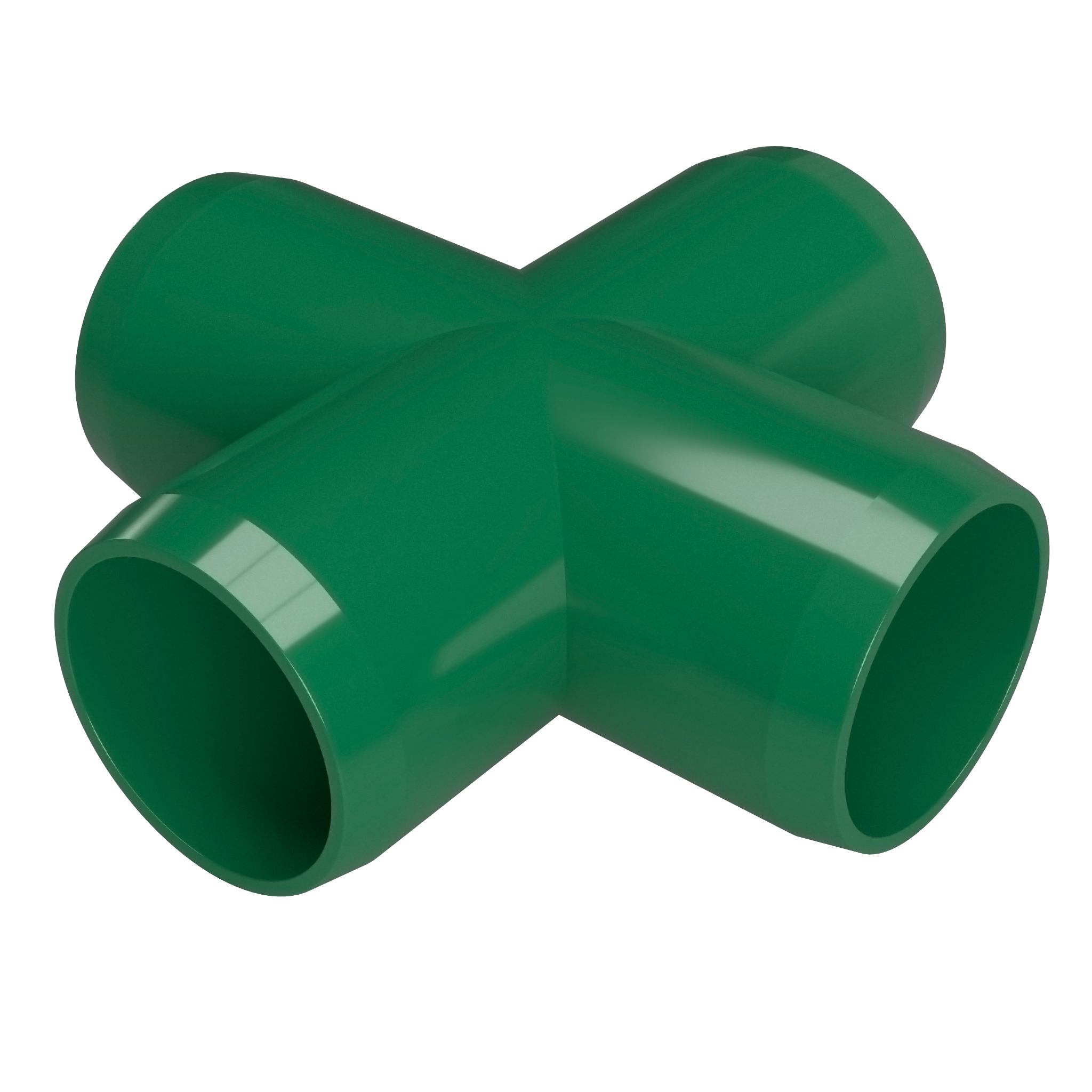 "FORMUFIT F001CRX-GR-4 Cross PVC Fitting, Furniture Grade, 1"" Size, Green, 4-Pack"