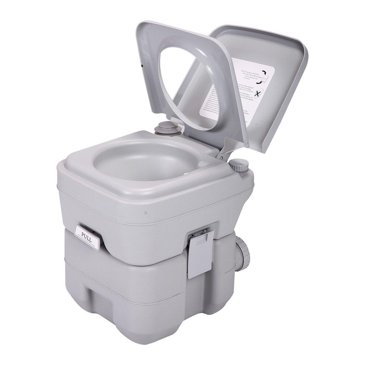 Ktaxon 5 Gallon Motorhome Flushing Toilet, Removable Camper Porta Potty Commode, Great for Car, Boat, Caravan, Campsite, Hospital