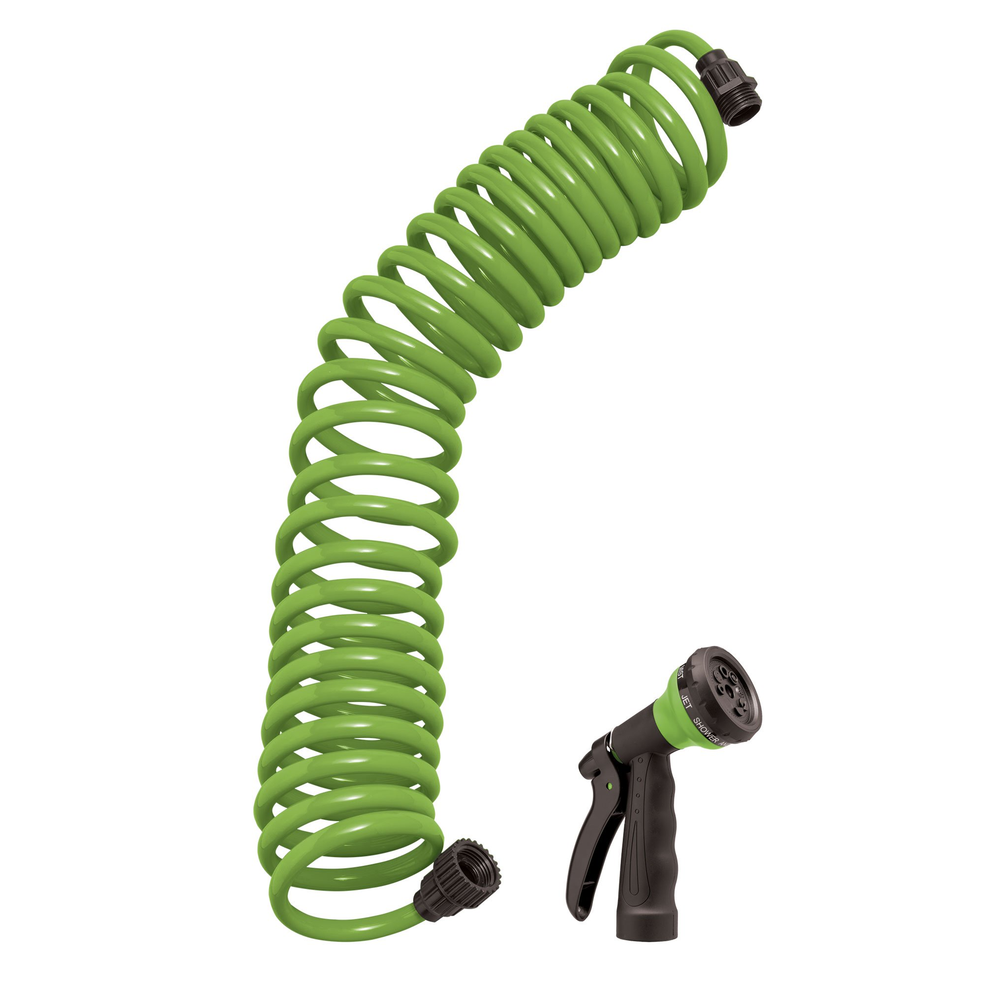 Orbit 25 Foot Green Coil Garden Hose with ABS Threads and 8 Spray Pattern Nozzle