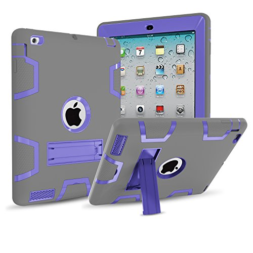 IPad 4/3/2 Case,Mignova Three dual Layer [Impact Protection][Shock Proof] Armor Defender Full Body Case for Apple iPad 4 Case,ipad 3 Case,ipad 2 Case Generation 9.7 inch (Navy blue+Green)