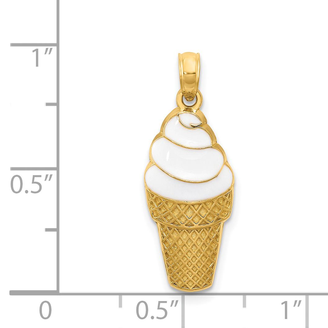 14K Yellow Gold Enameled Vanilla Ice Cream Cone Pendant - image 1 de 2