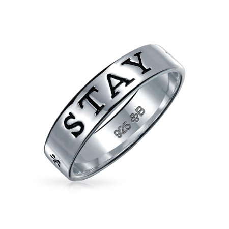 Sentimental Word Engraved Stay Strong Purity Promise Ring Band For Teen For Women 925 Sterling Silver Engraved Purity Ring