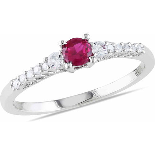 1/3 Carat T.G.W. Created Ruby, Created White Sapphire and Diamond Accent Sterling Silver Ring