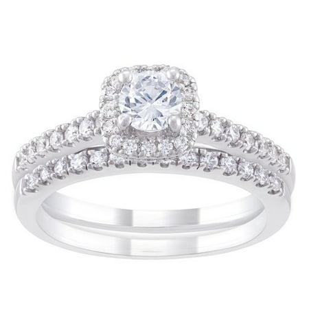 believe by brilliance sterling silver cz halo bridal set