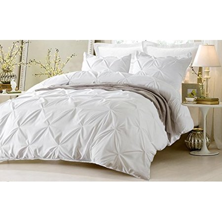 3pc Pinch Pleat Design White Duvet Cover Set Style 1006 King California
