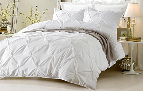 3pc pinch pleat design white duvet cover set style king