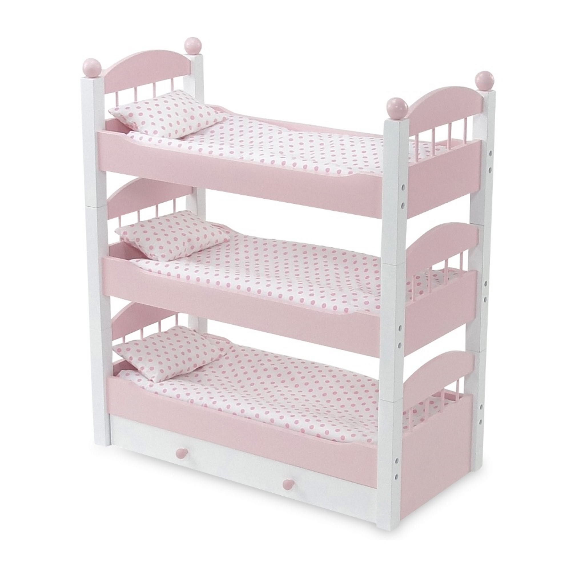 18 Inch Doll Furniture | Lovely Pink and White Stackable Triple Bunk Bed, Includes Trundle Drawer and Plush Polka Dot Bedding | Fits American Girl Dolls