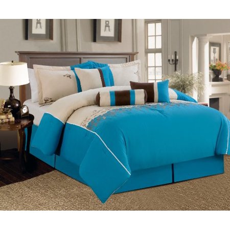 """7 Pieces Luxury Embroidery Comforter Set (102""""x92"""") Bed-in-a-bag Luxury King Size Bedding (Blue)"""
