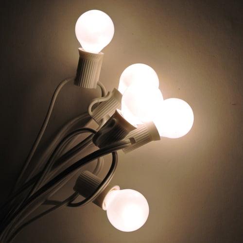 Globe String Lights - 100 ft C7 White Cord - G30 White Sa...