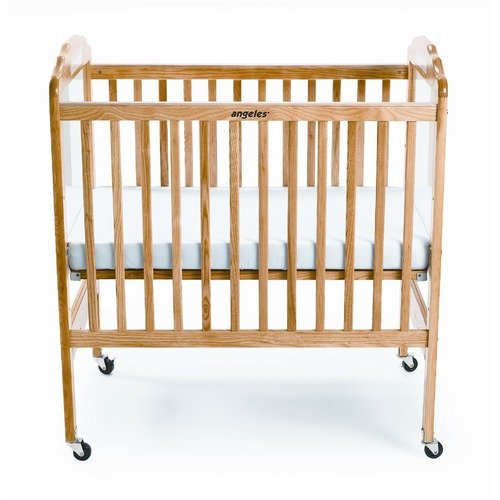 Angeles Adjustable Fixed-Side Natural Clear View Crib