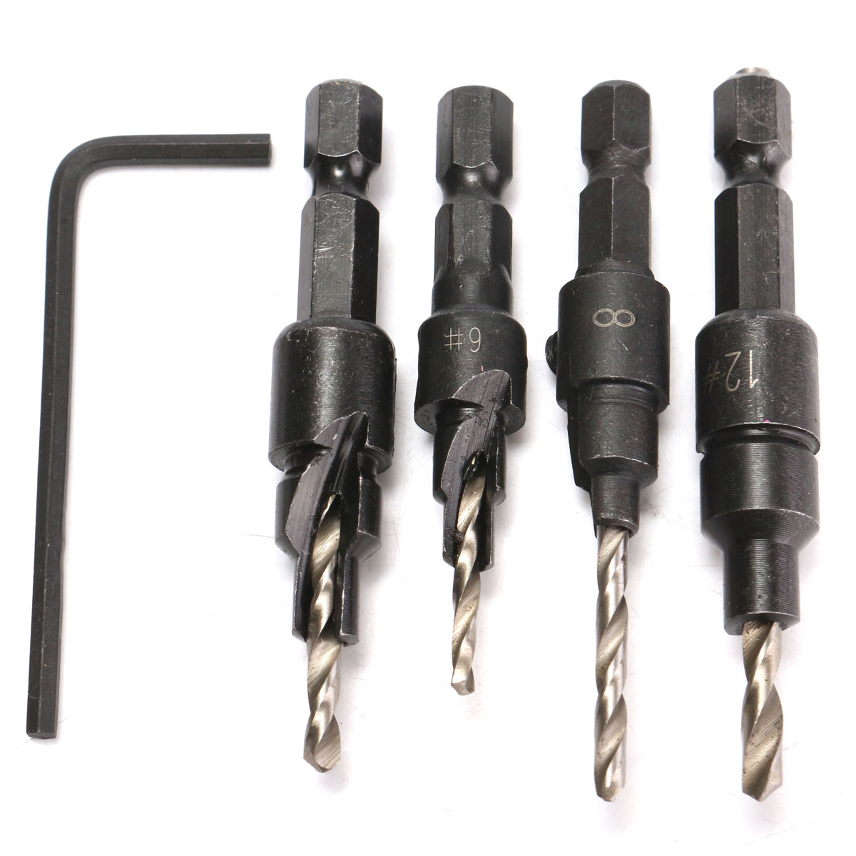 4X Countersink HSS Taper Drill 4241 Bits 1 4 Hex Shank Sets #6 #8 #10 #12 W  Key by