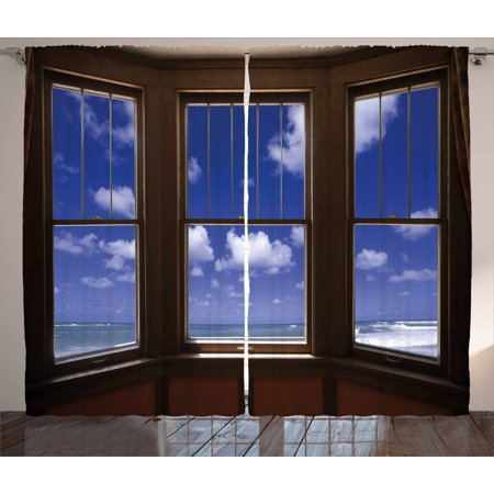 Beach Decor Curtains 2 Panels Set, Sea Ocean Scenery Waves View From Summer  House Window Image, Window Drapes for Living Room Bedroom, 108W X 90L ...