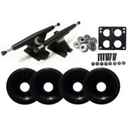 Randal 180 Black LONGBOARD TRUCKS Package 76mm S.BLACK Wheels