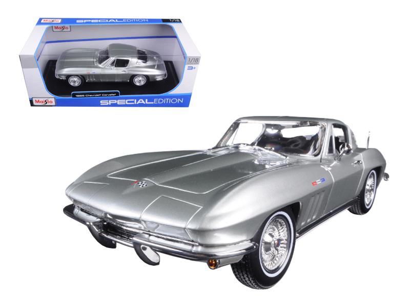 1965 Chevrolet Corvette Silver 1 18 Diecast Model Car by Maisto by Maisto