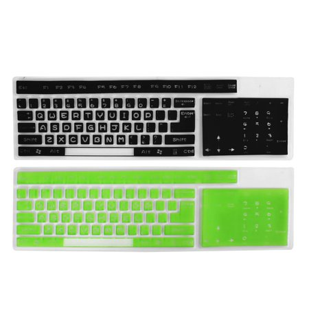 2 Pcs Silicone Black Green Full-size Desktop Keyboard Guard Film 44.5cm x 13.5cm