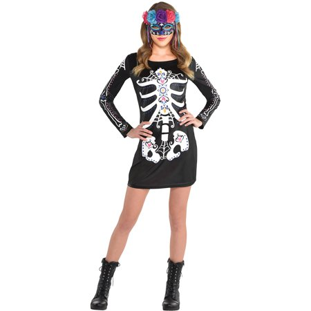 Same Day Halloween Costumes (Party City Day Of The Dead Halloween Dress Costume for Women, One)
