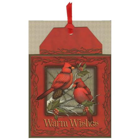 Warm Wishes Holiday Season - LPG Greetings Warm Wishes Cardinals Pocket Ornament Card Bookmark Holiday Card