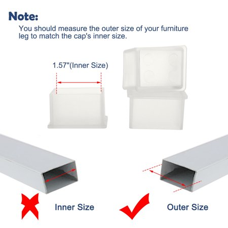 "Clear Chair Leg Caps Feet Furniture Floor Protector 14pcs 1.18""x1.57"" (30x40mm) - image 6 de 7"