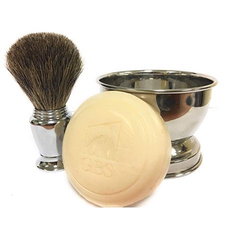 GBS Men's Wet Shaving Set - Chrome Pure Badger Shave Brush, Stainless Soap Bowl, Driftwood Natural Shave Soap Compliments Any Shaving Razor & Barber Tools. Wide Cup Produces Rich Lather - Great