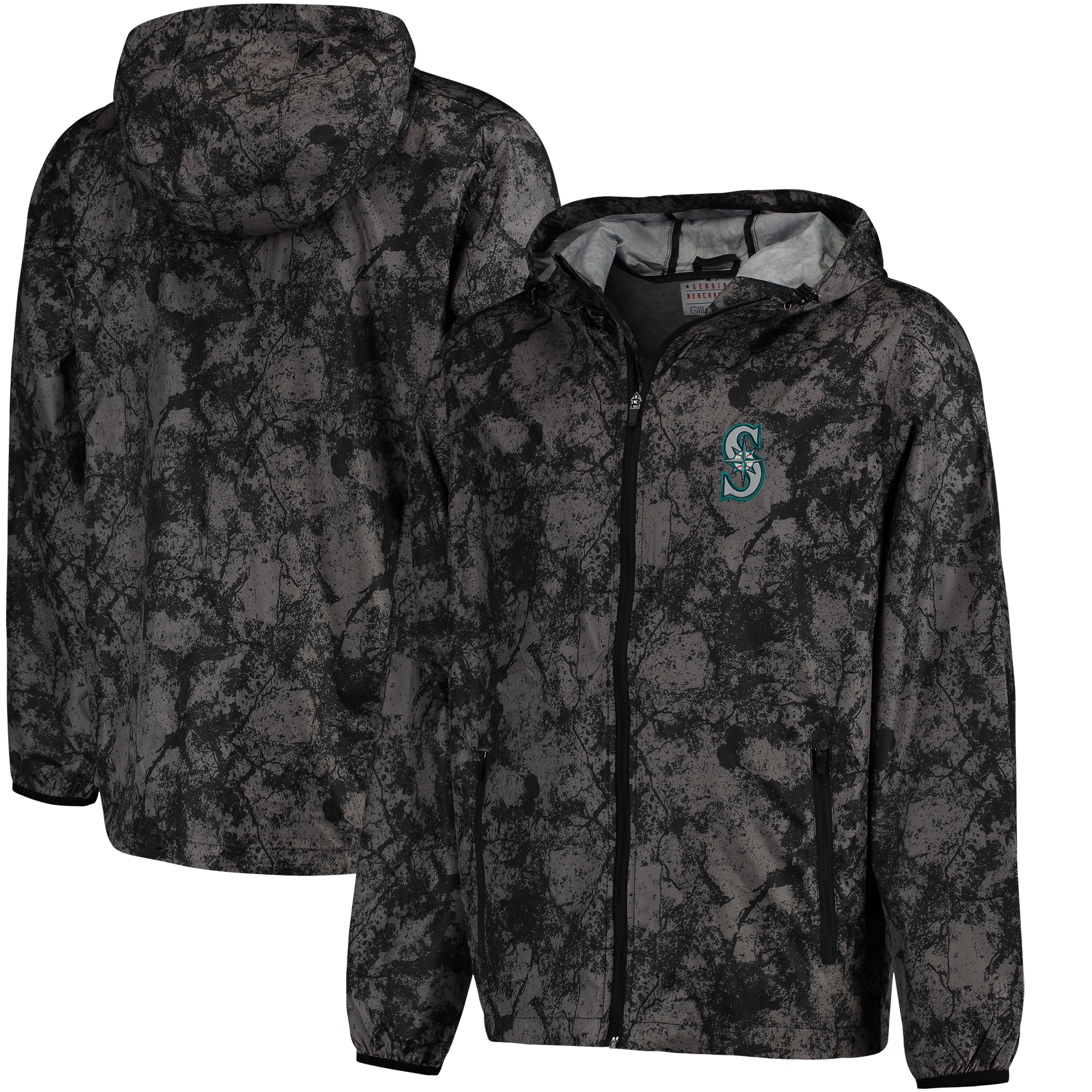 Seattle Mariners G-III Sports by Carl Banks Wind Chill Lightweight Full-Zip Jacket - Charcoal