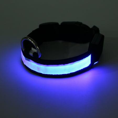 medium LED Light Up Dog Collar Nylon Pet Night Safety Bright Flashing Adjustable NEW - image 5 de 5