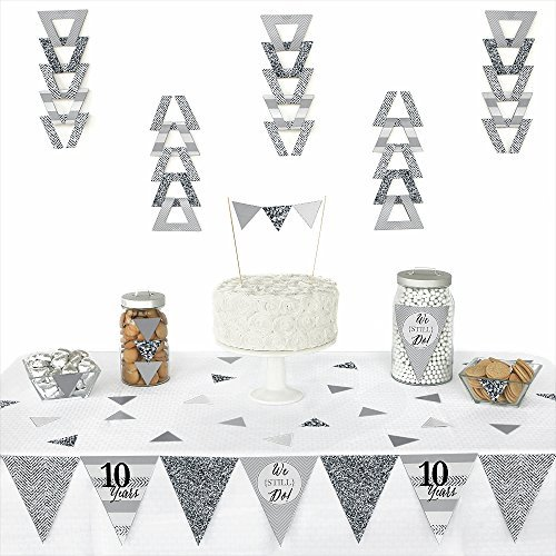 We Still Do - 10th Wedding Anniversary - Triangle Wedding Anniversary Party Decorations - 72 Pieces