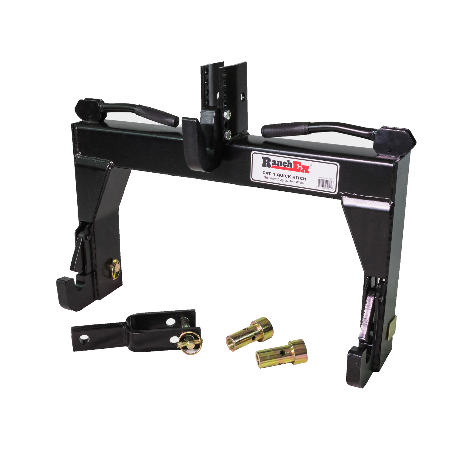 RanchEx Cat. 1 Quick Hitch, Adjustable Top Bracket, Includes Top Pins and Adapter Bushings