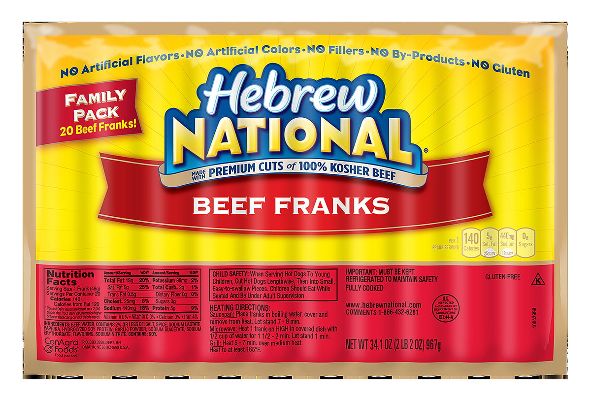 Nutrition Facts For Hebrew National Hot Dogs