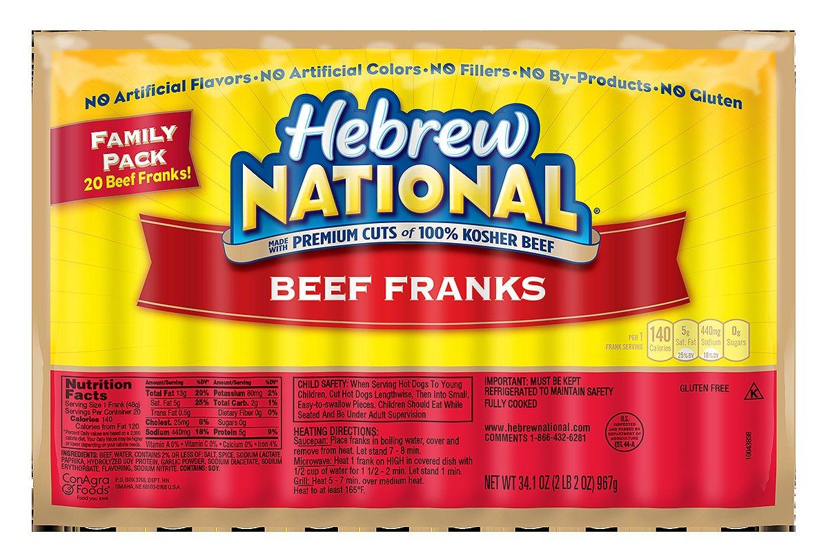 Hebrew national beef franks price