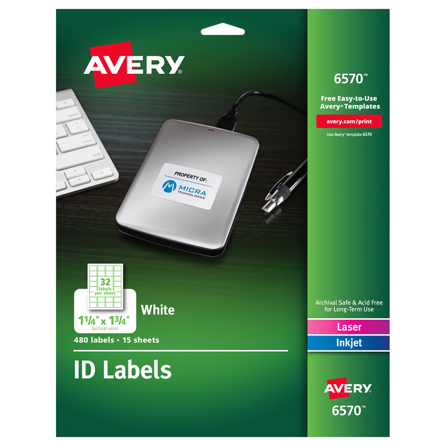 "Avery(R) White Permanent ID Labels for Laser and Inkjet Printers 6570, 1-1/4"" x 1-3/4"", Pack of 480"