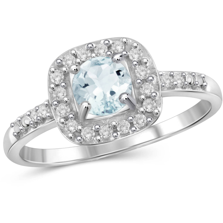 JewelersClub 0.45 Carat T.G.W. Aquamarine Gemstone and 1 10 Carat T.W. White Diamond Sterling Silver Ring by JewelersClub