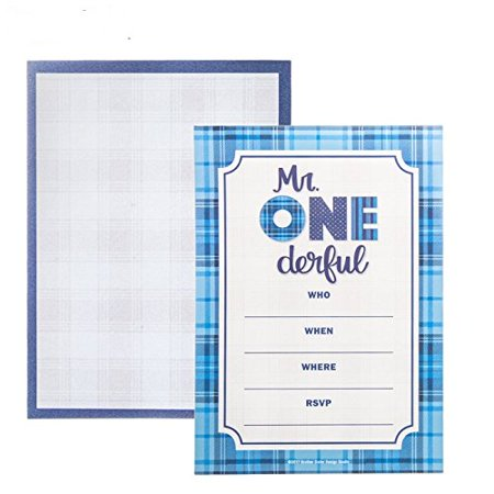 Mr. One-Derful Invitations Birthday Party Boys Kids Party Supplies 10 Count